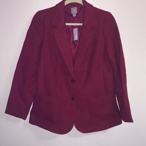 J Jill red basket weave wool blend blazer size S